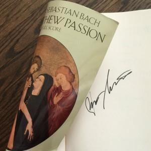 Autographed Bach St. Matthew's Passion Score Kurt Masur