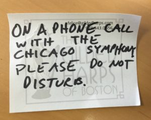 On a phone call with the Chicago Symphony Creative Inventory 2016