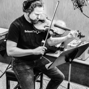 "Violist David Wallace improvises at the ""Shimmering Lights"" recording session with Yale Strom's Broken Consort"